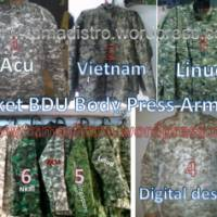 Jual Aneka Jaket BDU Body Press Army  ,loreng acupat,linud,nkri,malvinas,kopassus,vietnam,singapore,digital gurun desert kualitas Ok,harga terjangkau